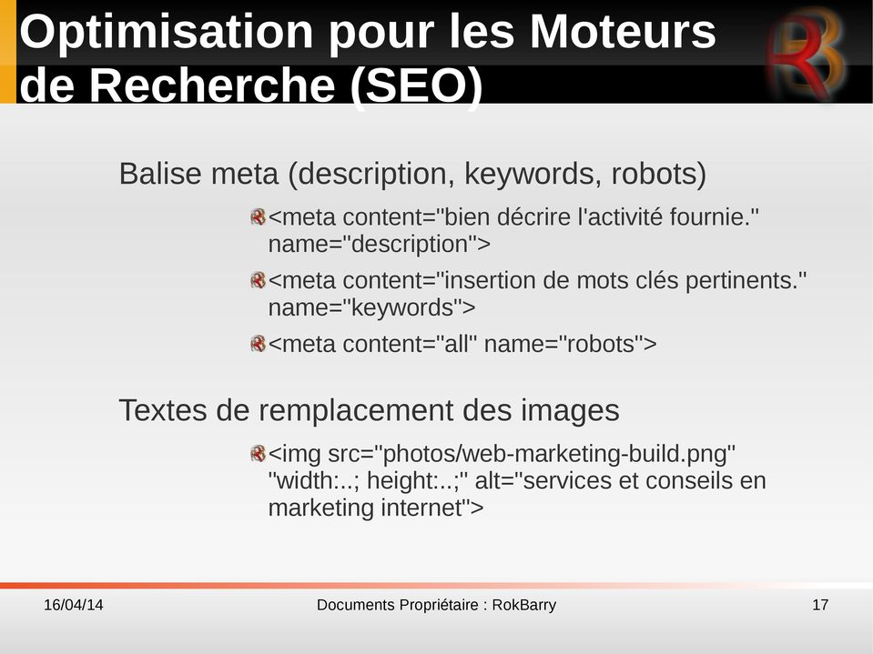 """ name=""description""> <meta content=""insertion de mots clés pertinents."