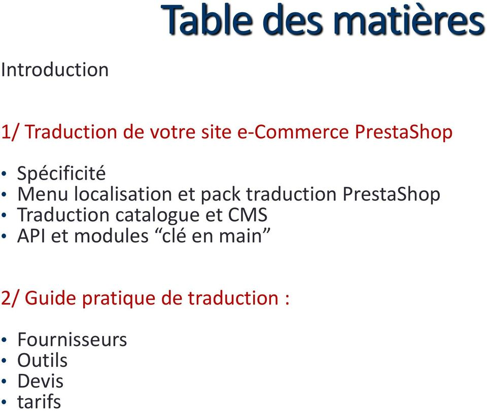 traduction PrestaShop Traduction catalogue et CMS API et modules