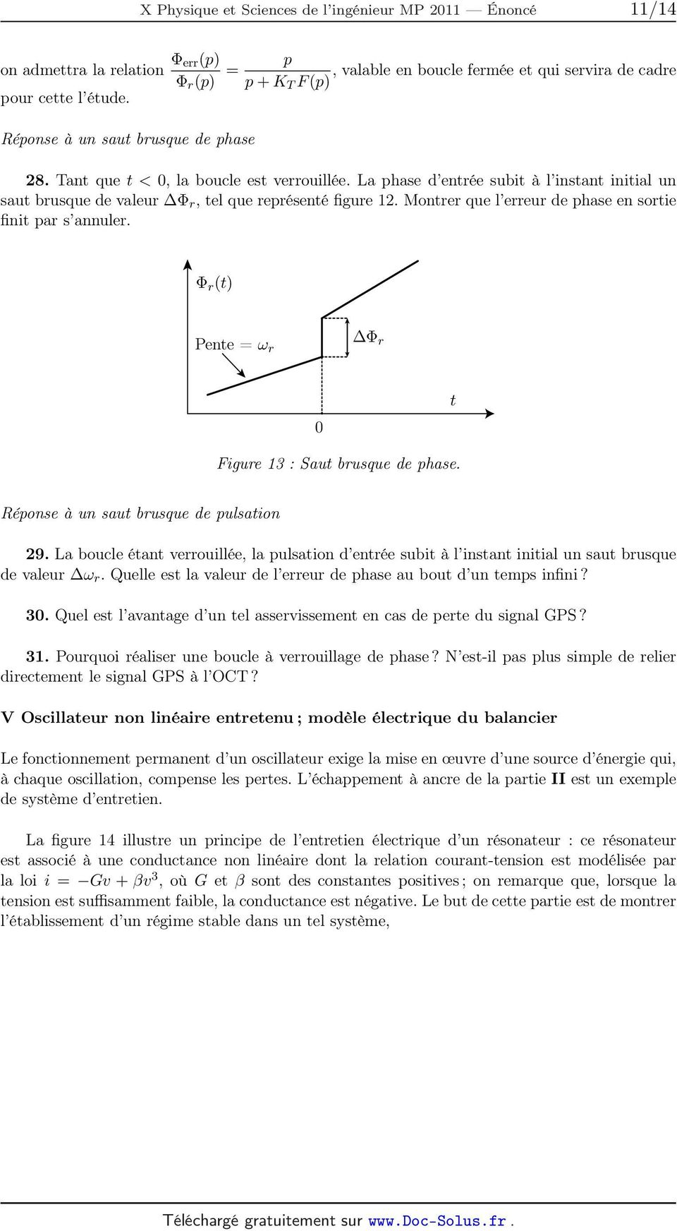 Montrer que l erreur de phase en sortie finit par s annuler. Φ r (t) Pente = ω r Φ r 0 t Figure 13 : Saut brusque de phase. Réponse à un saut brusque de pulsation 29.