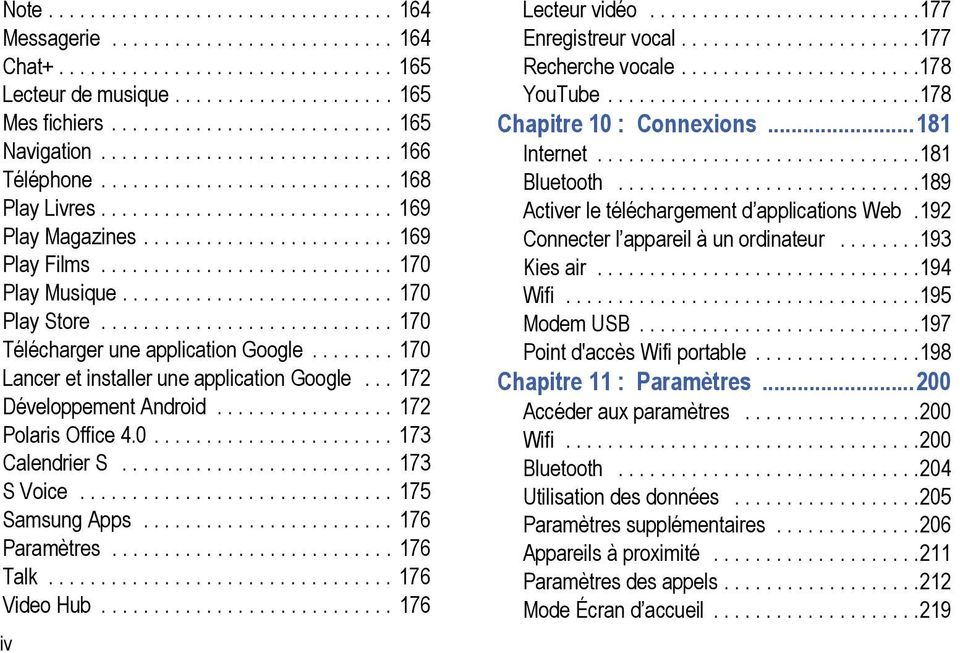 ......................... 170 Play Store............................ 170 Télécharger une application Google........ 170 Lancer et installer une application Google... 172 Développement Android.