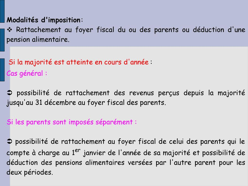 décembre au foyer fiscal des parents.