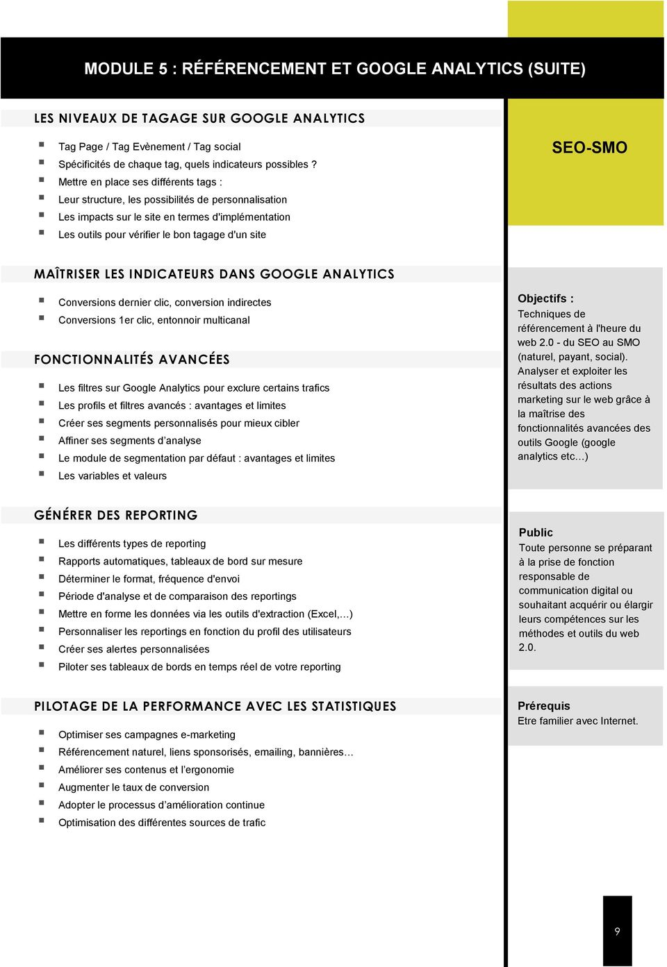 MAÎTRISER LES INDICATEURS DANS GOOGLE ANALYTICS Conversions dernier clic, conversion indirectes Conversions 1er clic, entonnoir multicanal FONCTIONNALITÉS AVANCÉES Les filtres sur Google Analytics