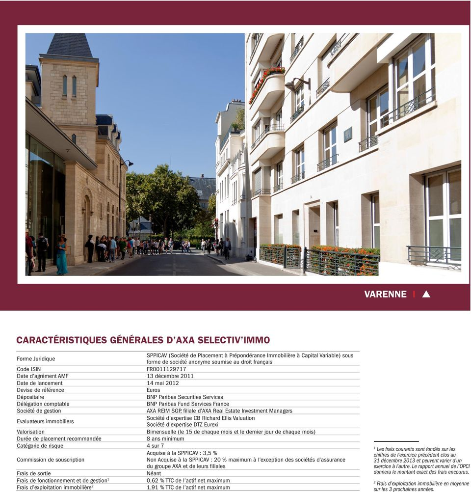 Paribas Fund Services France Société de gestion AXA REIM SGP, filiale d AXA Real Estate Investment Managers Evaluateurs immobiliers Société d expertise CB Richard Ellis Valuation Société d expertise