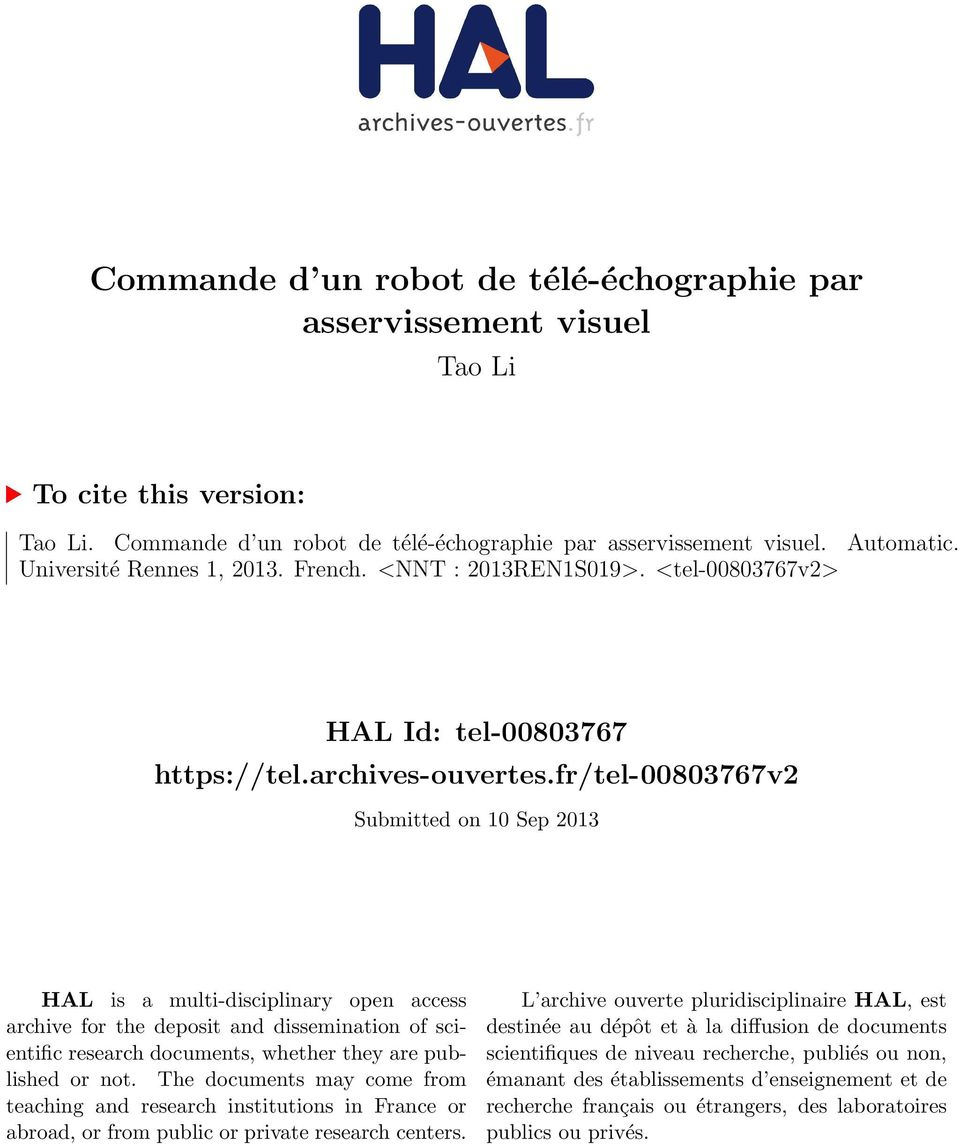 fr/tel-00803767v2 Submitted on 10 Sep 2013 HAL is a multi-disciplinary open access archive for the deposit and dissemination of scientific research documents, whether they are published or not.