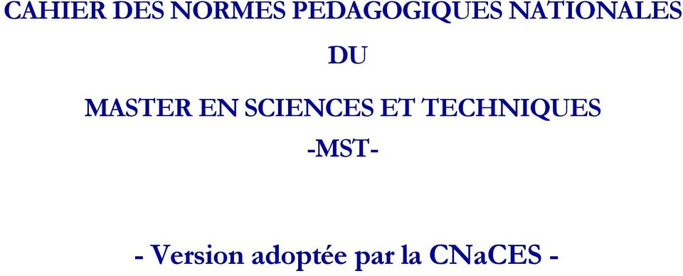 MASTER EN SCIENCES ET