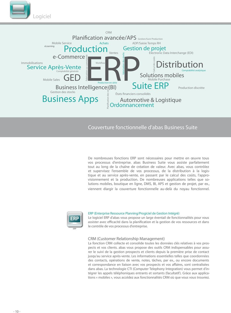 de projet Electronic Data Interchange (EDI) Suite ERP États financiers consolidés Distribution Solutions mobiles Mobile Purchase Automotive & Logistique Ordonnancement Calcul des coûts Comptabilité