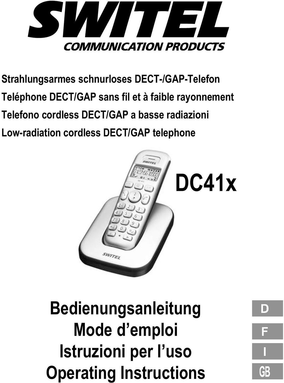 radiazioni Low radiation cordless DECT/GAP telephone DC41x