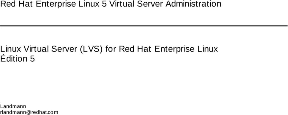 Server (LVS) for Red Hat Enterprise