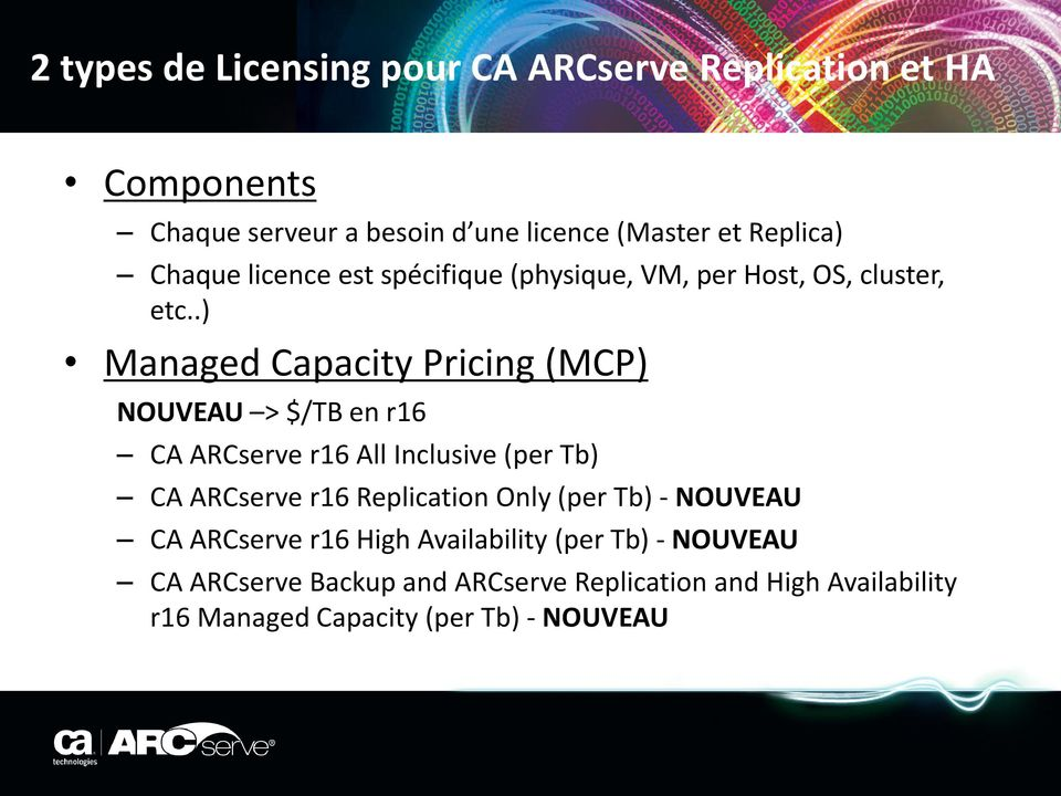 .) Managed Capacity Pricing (MCP) NOUVEAU > $/TB en r16 CA ARCserve r16 All Inclusive (per Tb) CA ARCserve r16 Replication