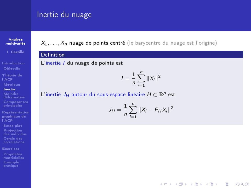 l origine) Definition L inertie I du nuage de points est I