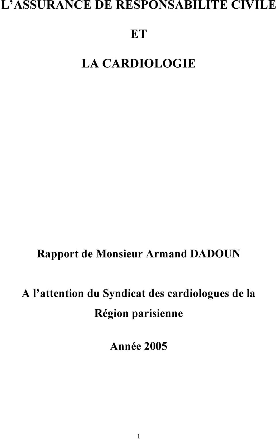 DADOUN A l attention du Syndicat des