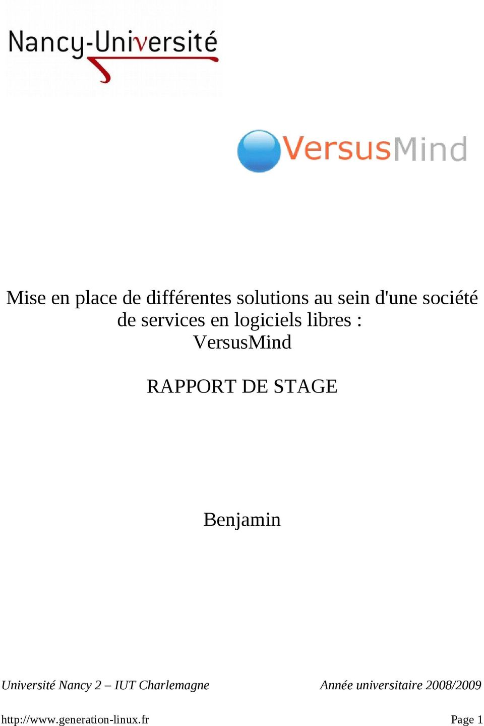 RAPPORT DE STAGE Benjamin Université Nancy 2 IUT