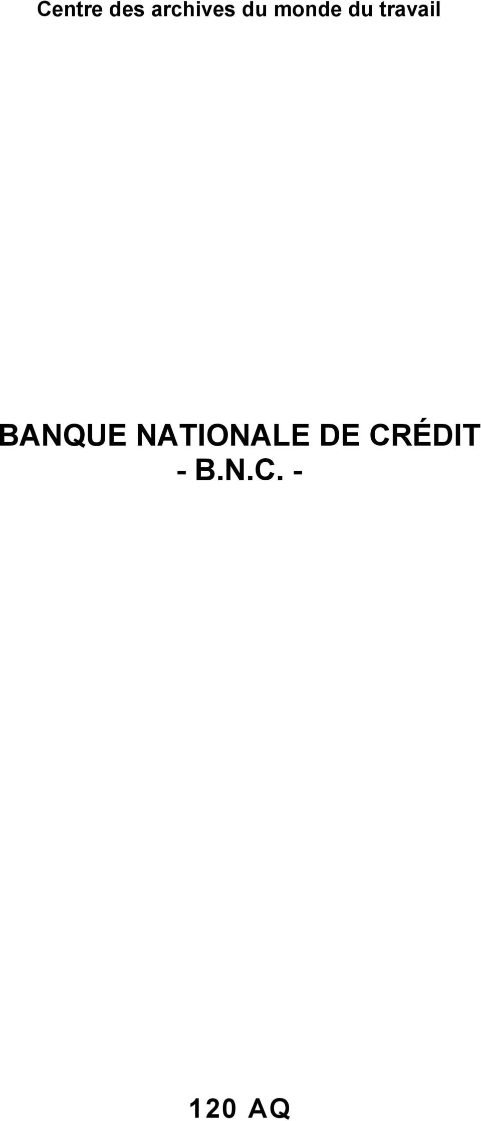 BANQUE NATIONALE DE