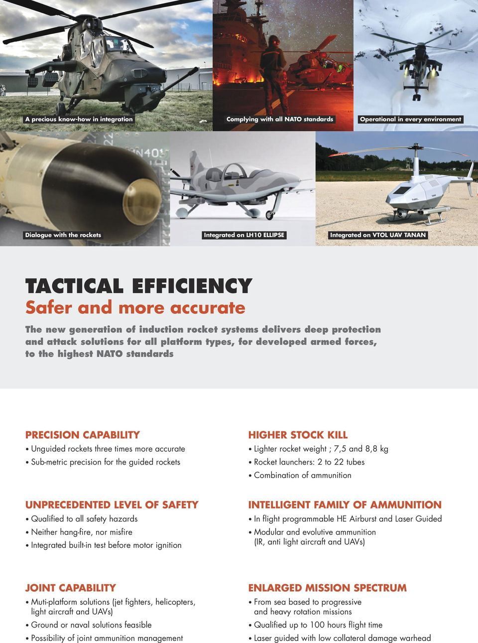 standards PRECISION CAPABILITY HIGHER STOCK KILL U nguided rockets three times more accurate L ighter S ub-metric precision for the guided rockets Rocket launchers: 2 to 22 tubes Combination of