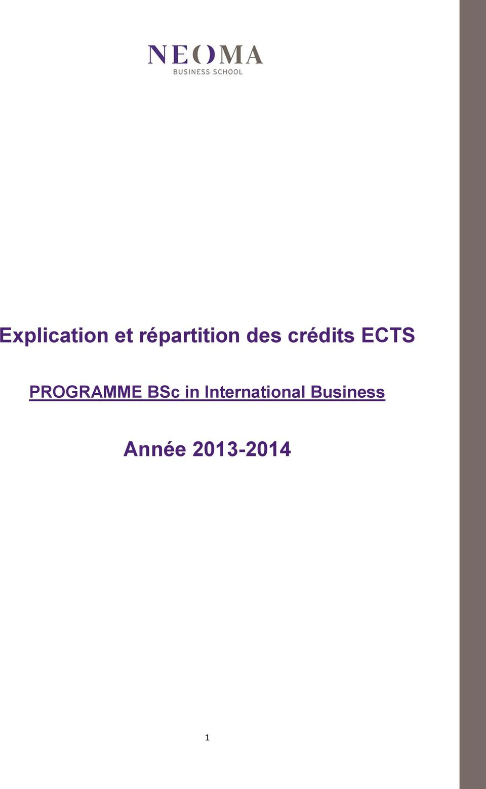 ECTS PROGRAMME BSc in