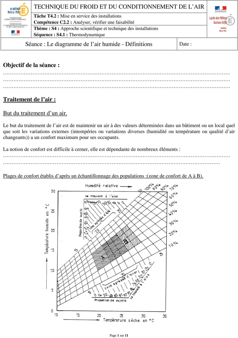 1 : Thermodynamique Séance : Le diagramme de l air humide - Définitions Date : Objectif de la séance : Traitement de l air : But du traitement d un air.