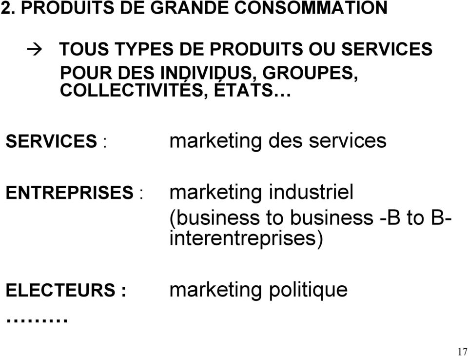 : ENTREPRISES : ELECTEURS : marketing des services marketing