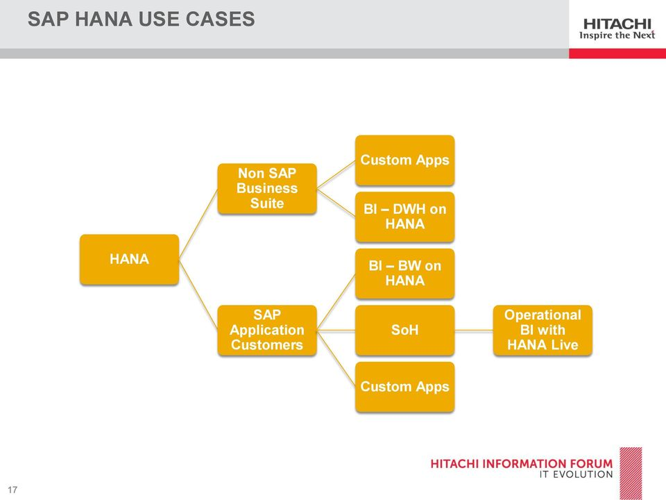 Customers Custom Apps BI DWH on HANA BI