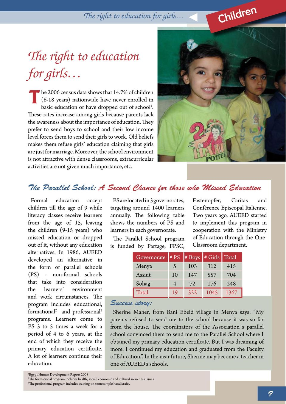 These rates increase among girls because parents lack the awareness about the importance of education.
