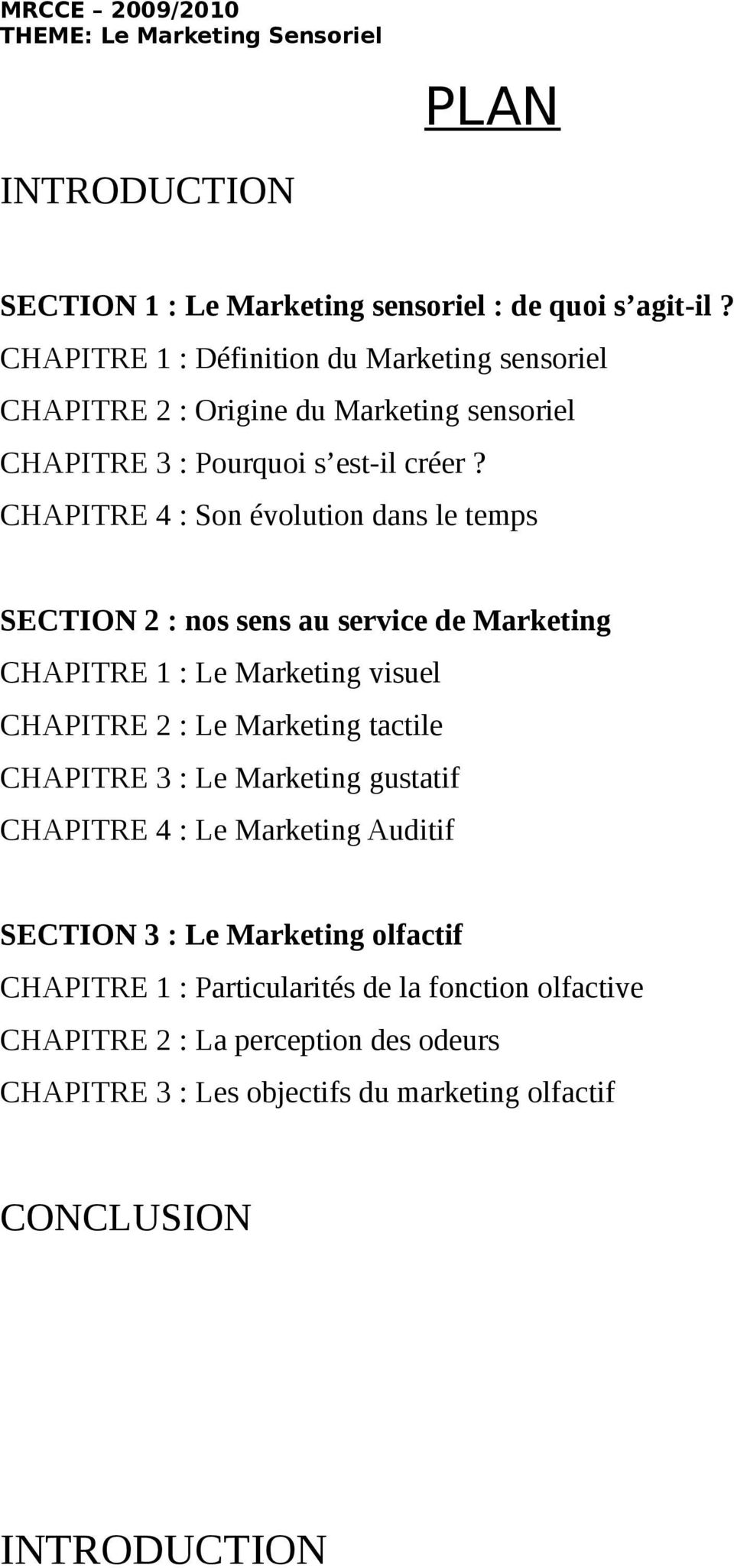 CHAPITRE 4 : Son évolution dans le temps SECTION 2 : nos sens au service de Marketing CHAPITRE 1 : Le Marketing visuel CHAPITRE 2 : Le Marketing tactile