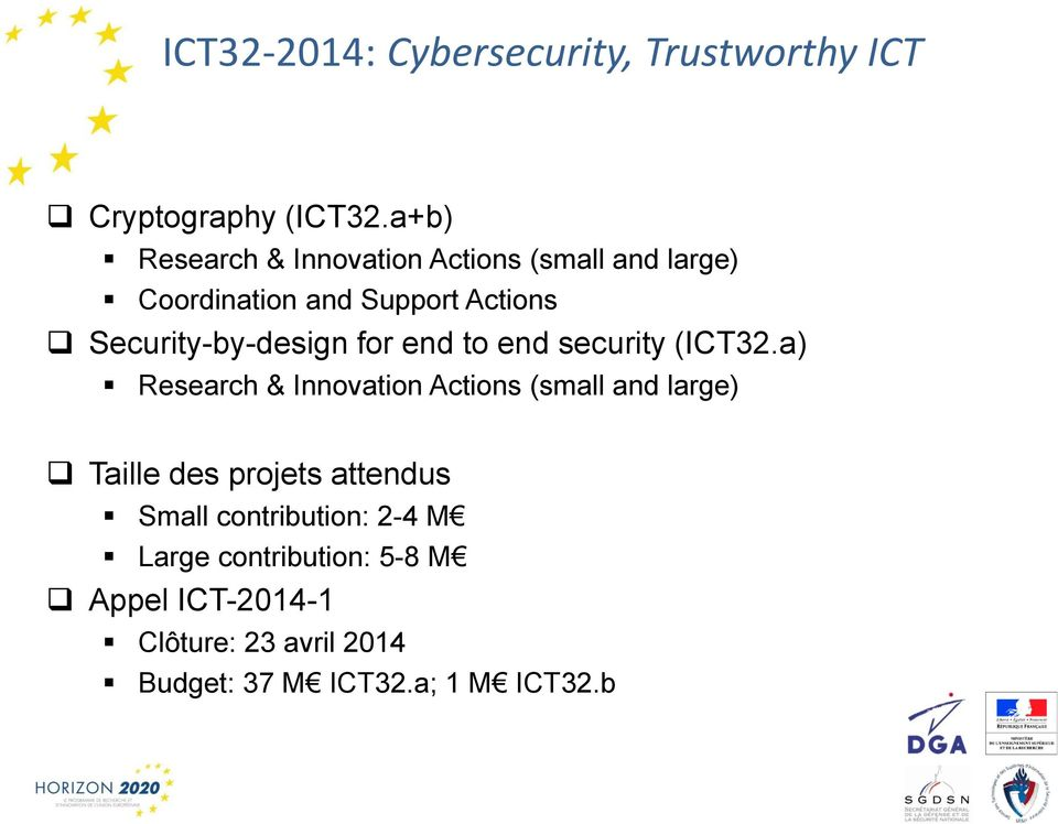 Security-by-design for end to end security (ICT32.