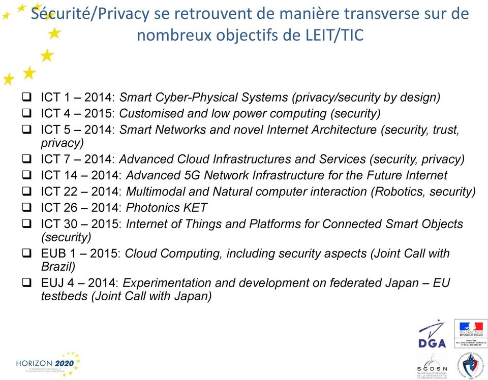 Advanced 5G Network Infrastructure for the Future Internet ICT 22 2014: Multimodal and Natural computer interaction (Robotics, security) ICT 26 2014: Photonics KET ICT 30 2015: Internet of Things and