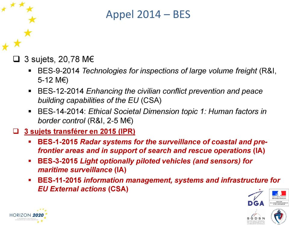 transférer en 2015 (IPR) BES-1-2015 Radar systems for the surveillance of coastal and prefrontier areas and in support of search and rescue operations (IA)