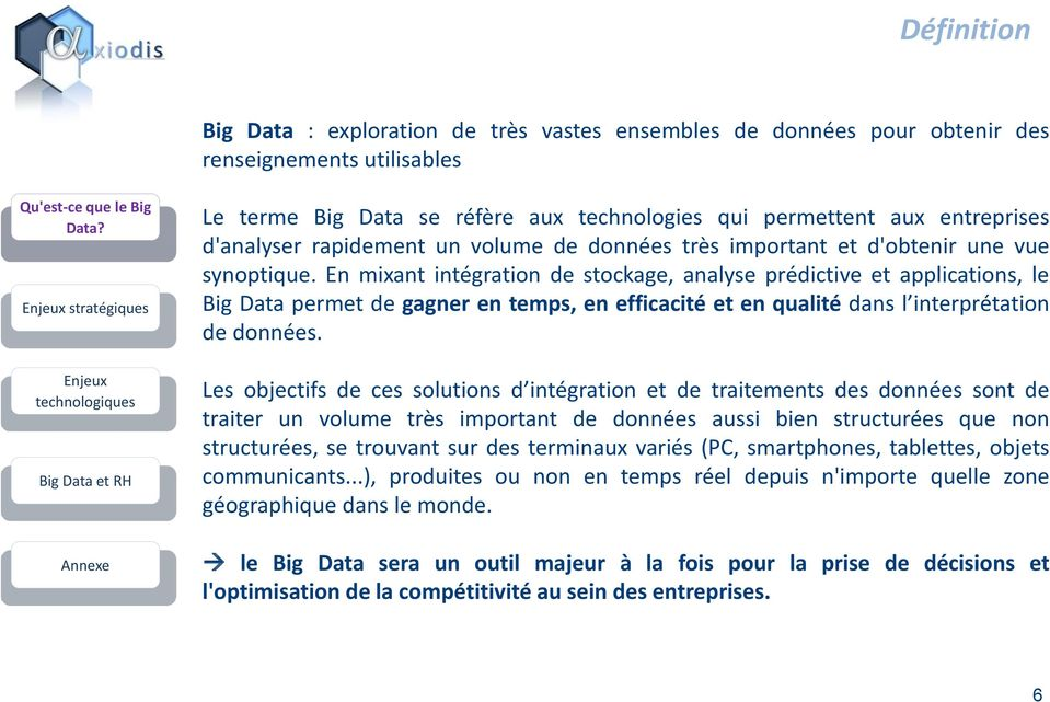 En mixant intégration de stockage, analyse prédictive et applications, le Big Data permet de gagner en temps, en efficacité et en qualité dans l interprétation de données.