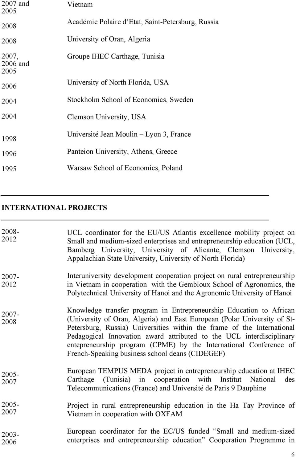 2007-2007- 2005-2007 2005-2007 2003- UCL coordinator for the EU/US Atlantis excellence mobility project on Small and medium-sized enterprises and entrepreneurship education (UCL, Bamberg University,