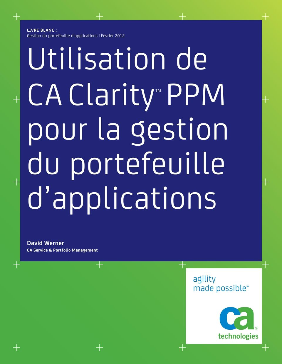 gestion du portefeuille d applications David Werner