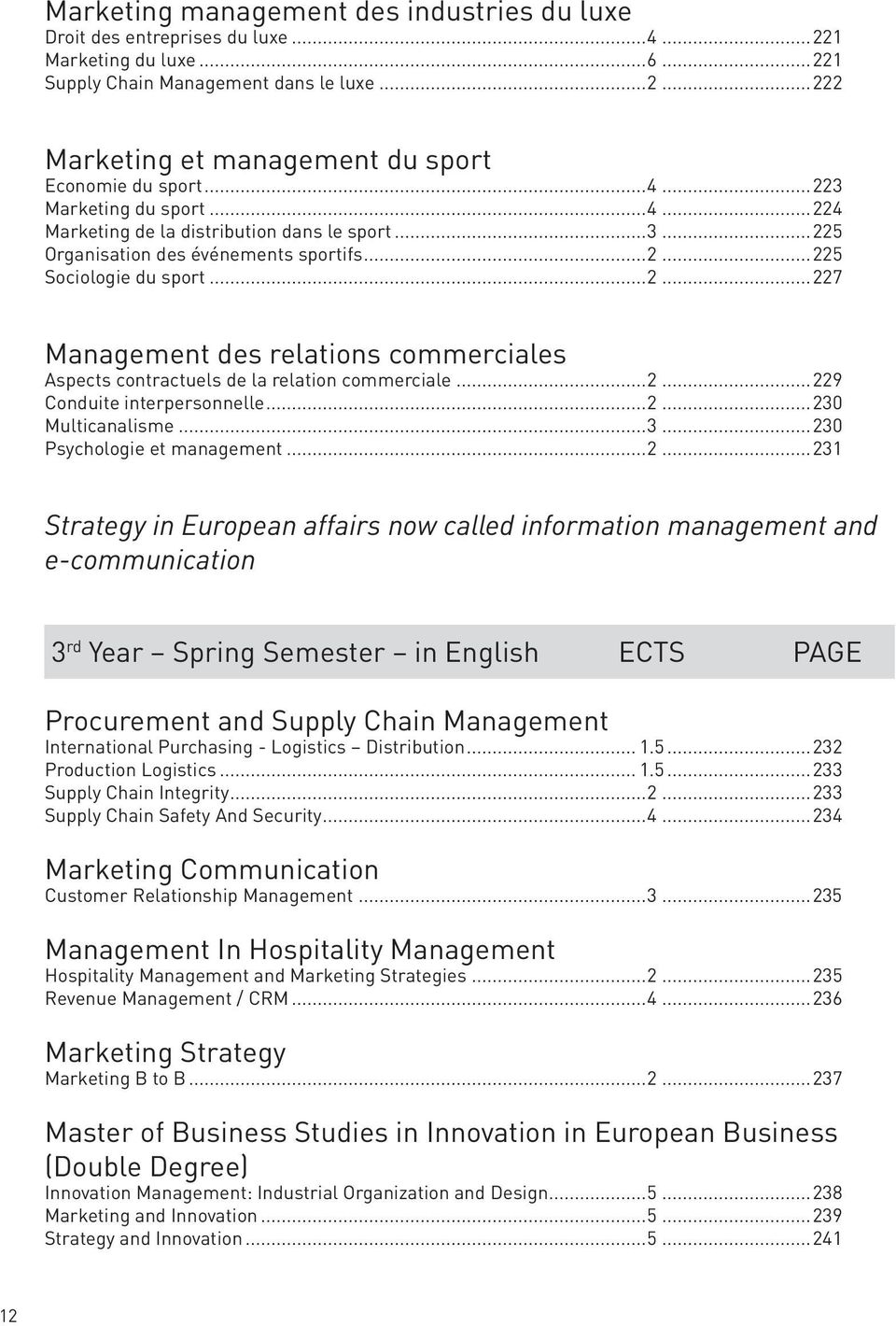 ..2...229 Conduite interpersonnelle...2...230 Multicanalisme...3...230 Psychologie et management...2...231 Strategy in European affairs now called information management and e-communication 3 rd Year
