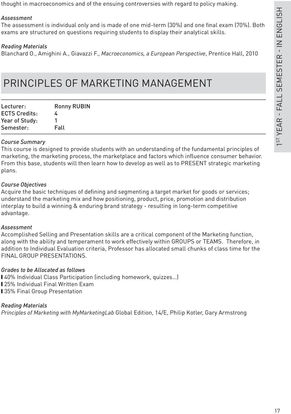 , Macroeconomics, a European Perspective, Prentice Hall, 2010 Principles of Marketing Management Lecturer: Ronny RUBIN ECTS Credits: 4 Year of Study: 1 Semester: Fall Course Summary This course is