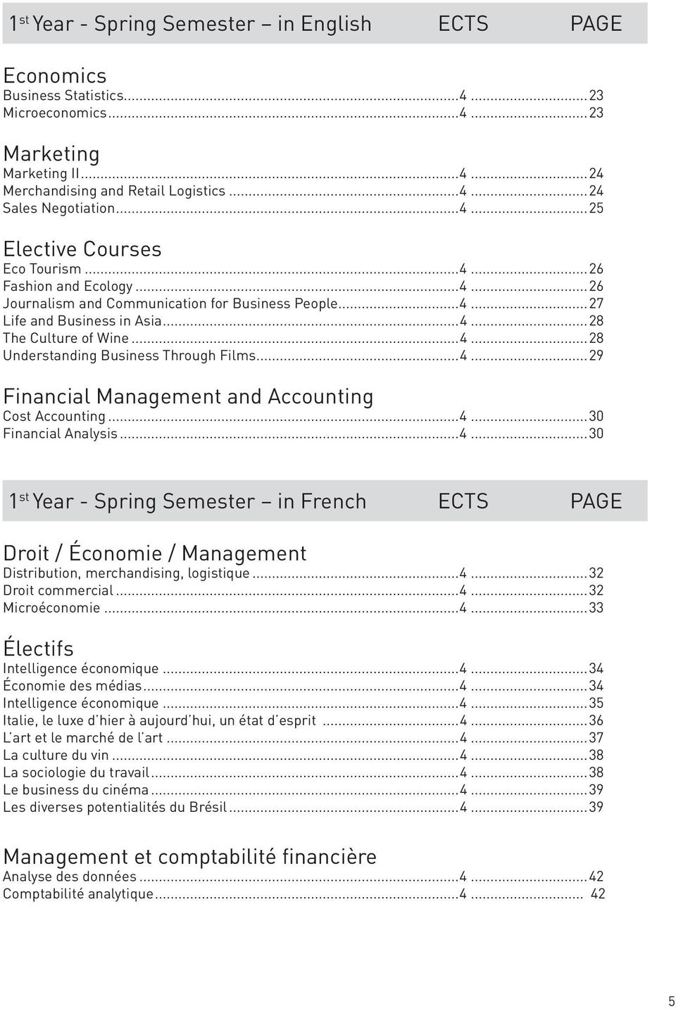 ..4...29 Financial Management and Accounting Cost Accounting...4...30 Financial Analysis...4...30 1 st Year - Spring Semester in French ECTS PAGE Droit / Économie / Management Distribution, merchandising, logistique.