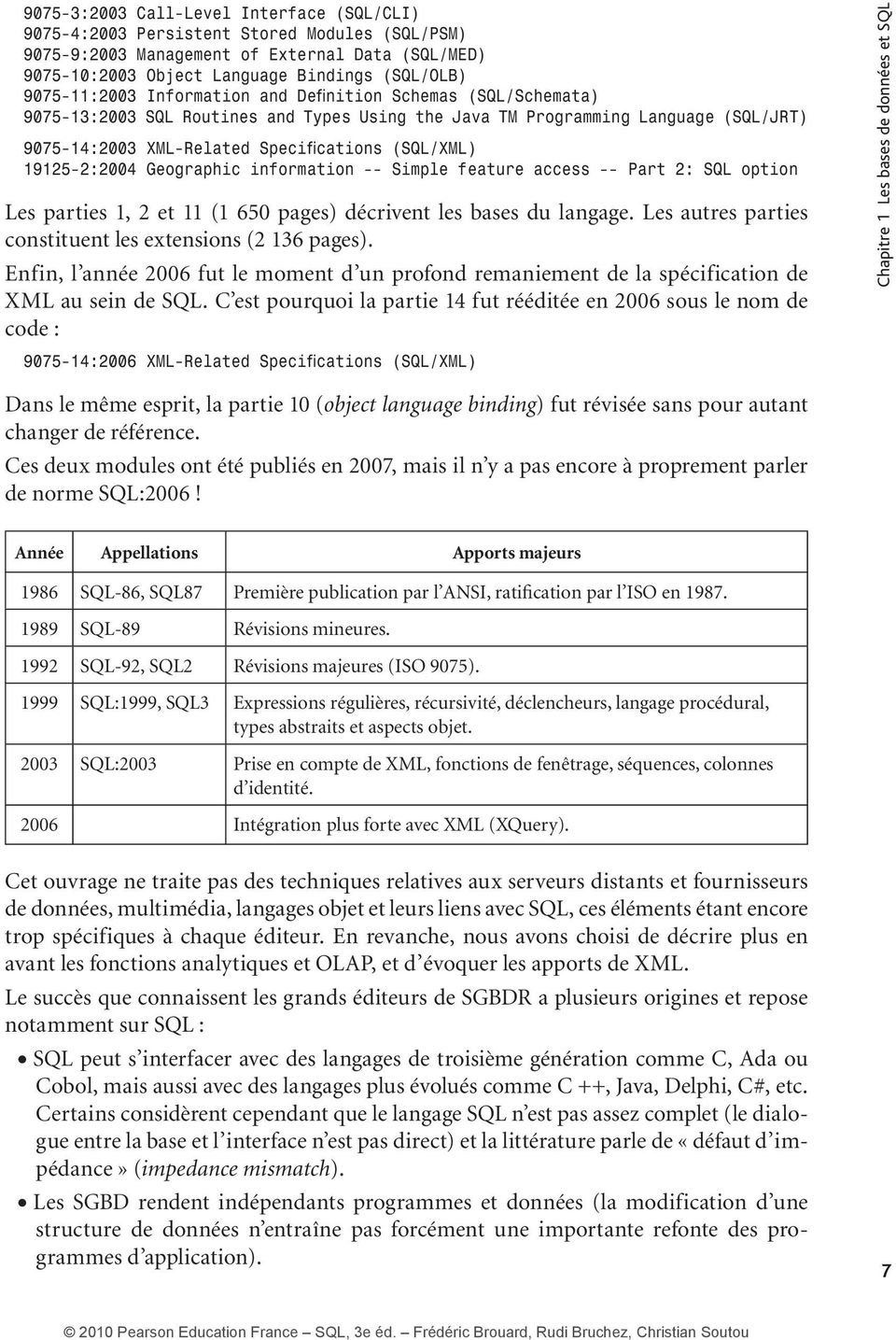 19125-2:2004 Geographic information -- Simple feature access -- Part 2: SQL option Les parties 1, 2 et 11 (1 650 pages) décrivent les bases du langage.