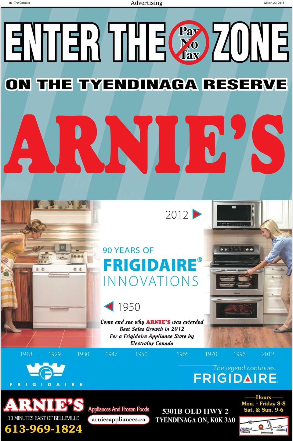 2012 For a Frigidaire Appliance Store by Electrolux Canada 1918 1929 1930 1947 1950 1965 1970 1996