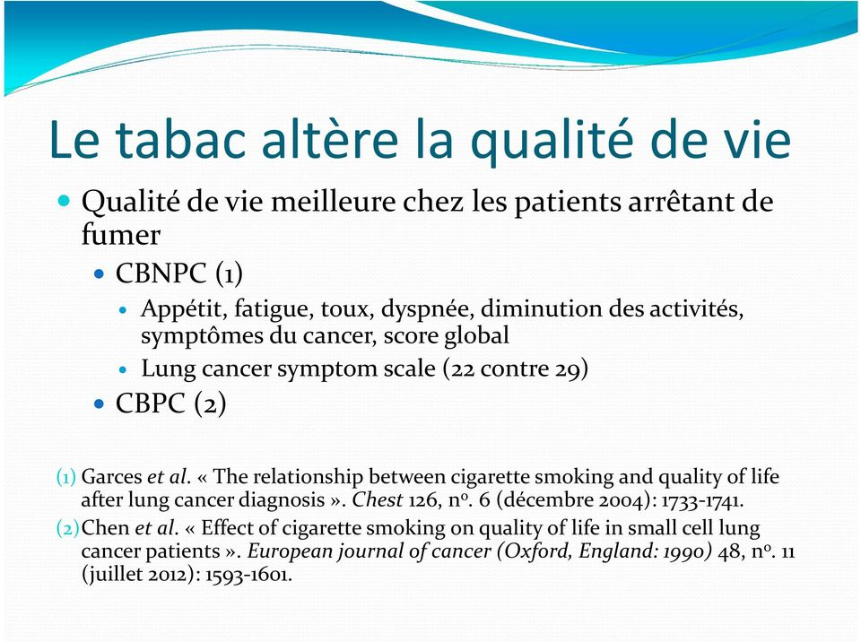 «The relationship between cigarette smoking and quality of life after lung cancer diagnosis». Chest 126, n o. 6 (décembre 2004): 1733 1741.