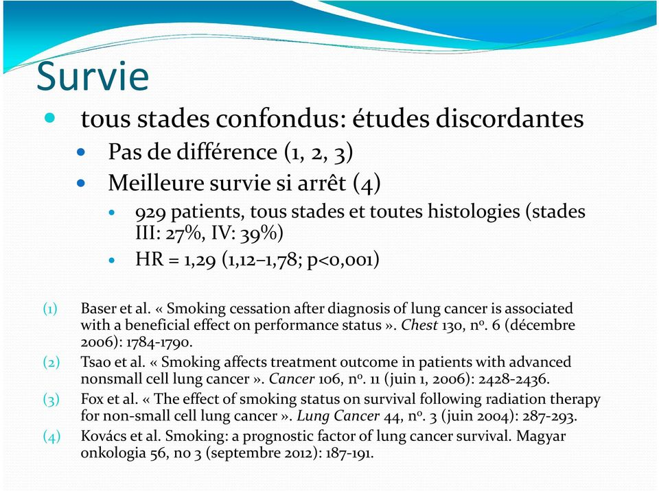 (2) Tsao et al. «Smoking affects treatment outcome in patients with advanced nonsmall cell lung cancer». Cancer 106, n o. 11 (juin 1, 2006): 2428 2436. (3) Fox et al.