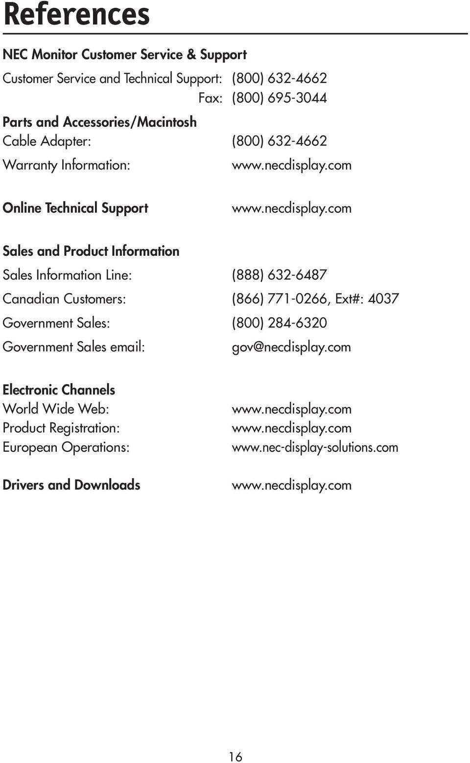 com Online Technical Support www.necdisplay.
