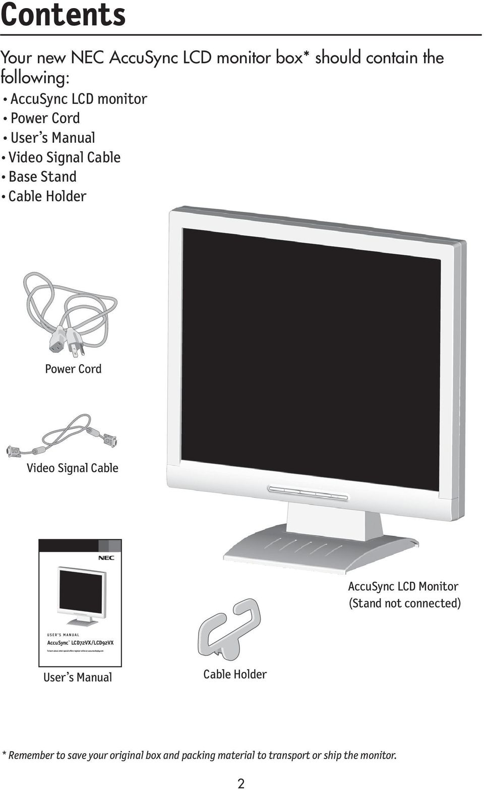 Signal Cable AccuSync LCD Monitor.