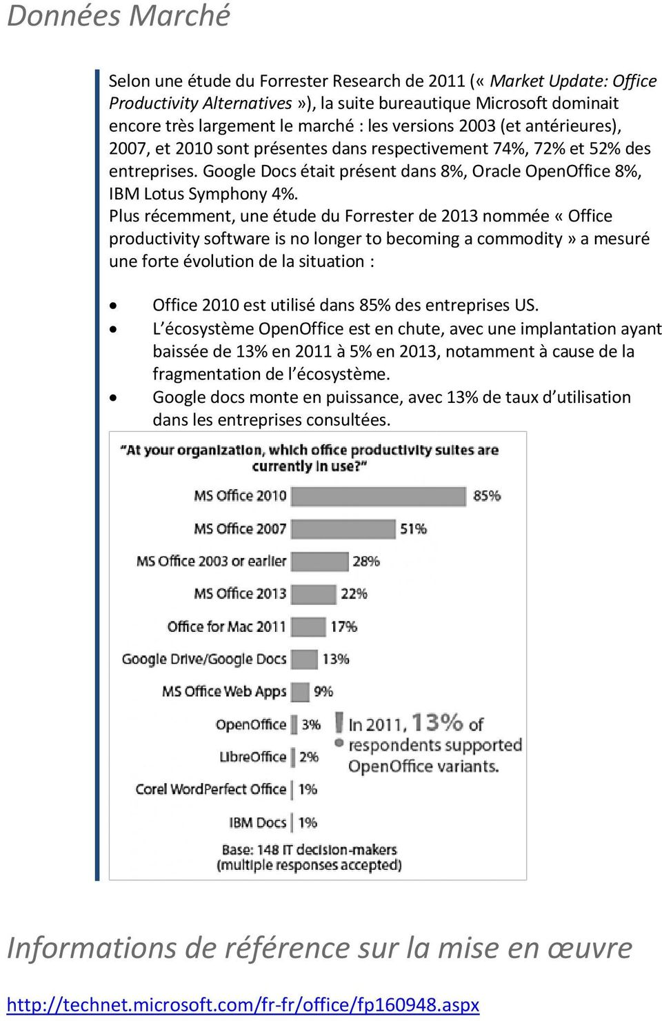 Plus récemment, une étude du Forrester de 2013 nommée «Office productivity software is no longer to becoming a commodity» a mesuré une forte évolution de la situation : Office 2010 est utilisé dans