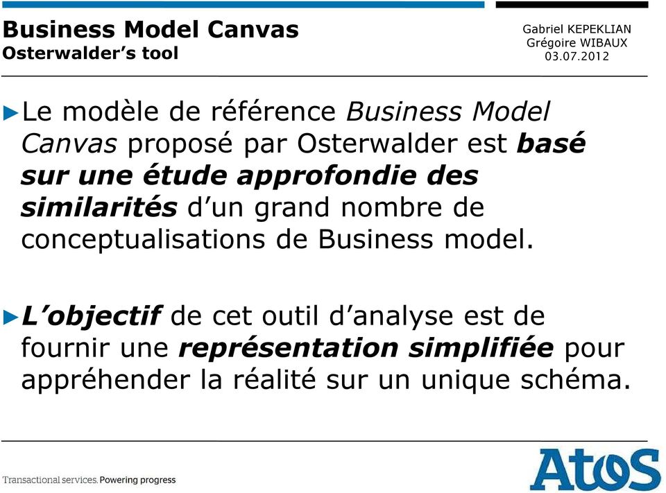 nombre de conceptualisations de Business model.