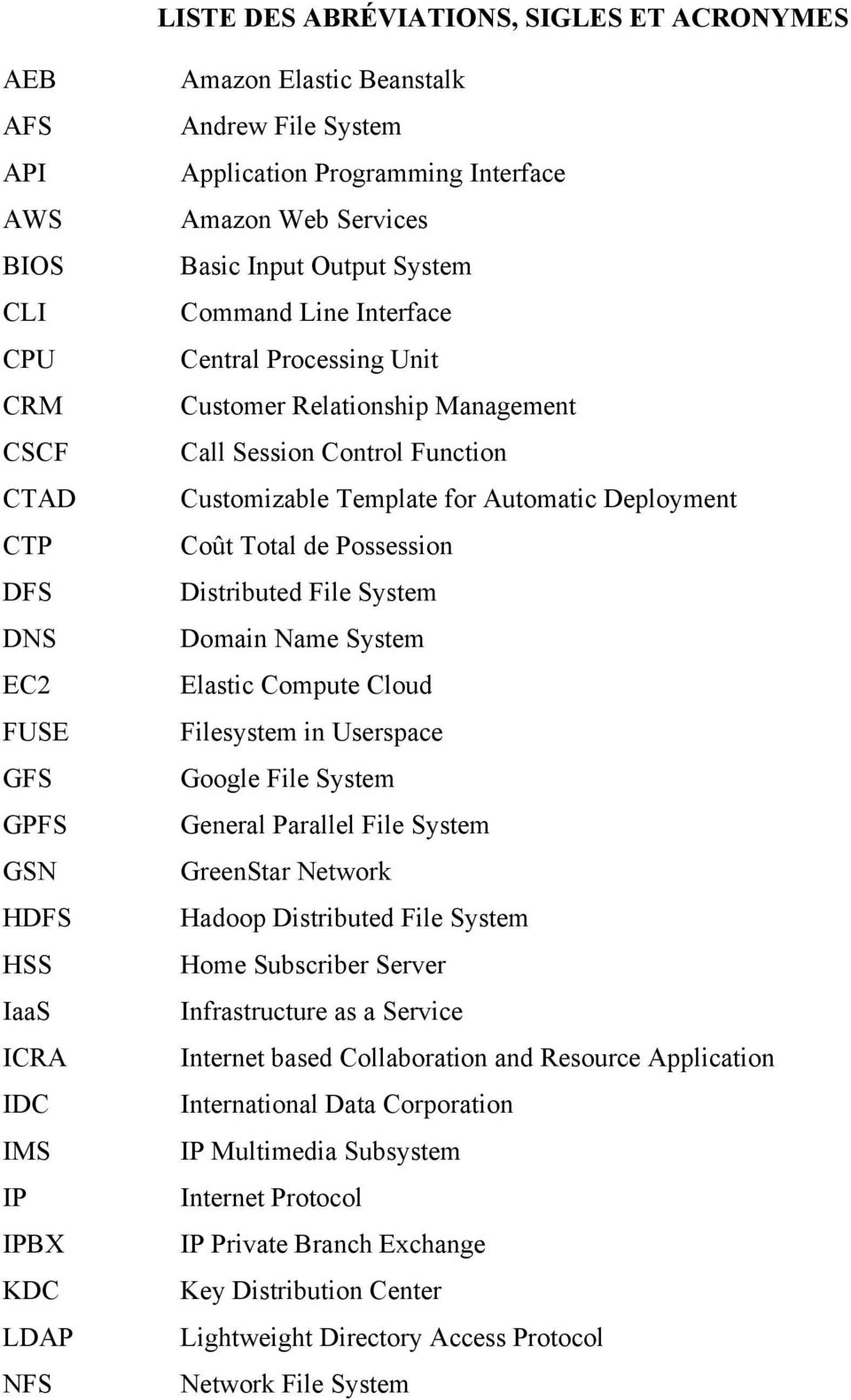 Function Customizable Template for Automatic Deployment Coût Total de Possession Distributed File System Domain Name System Elastic Compute Cloud Filesystem in Userspace Google File System General