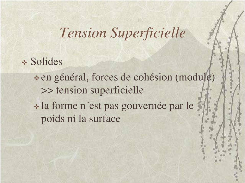 >> tension superficielle la forme n