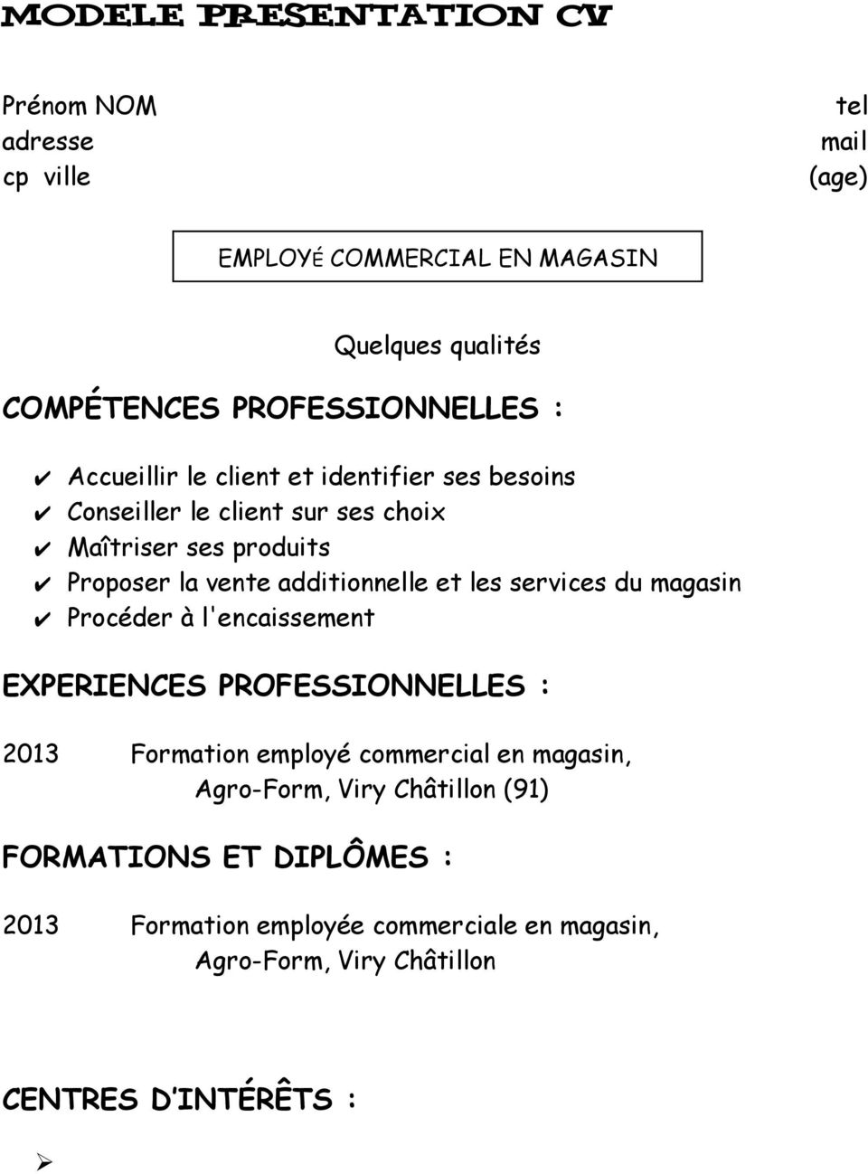 employe commercial en magasin  module 1