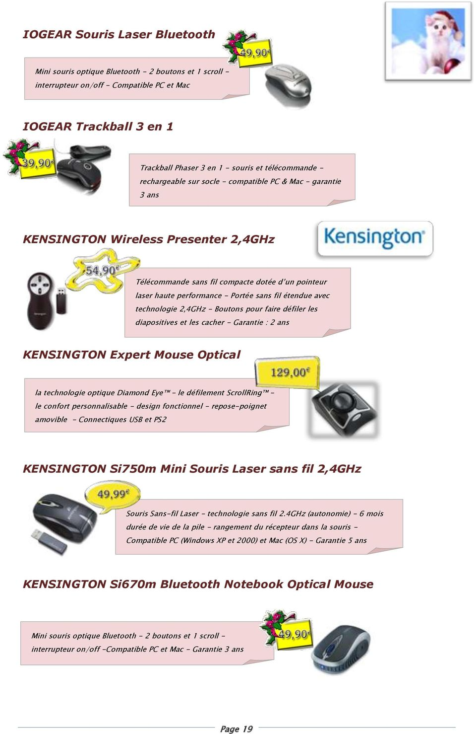 sans fil étendue avec technologie 2,4GHz - Boutons pour faire défiler les diapositives et les cacher - Garantie : 2 ans KENSINGTON Expert Mouse Optical la technologie optique Diamond Eye - le