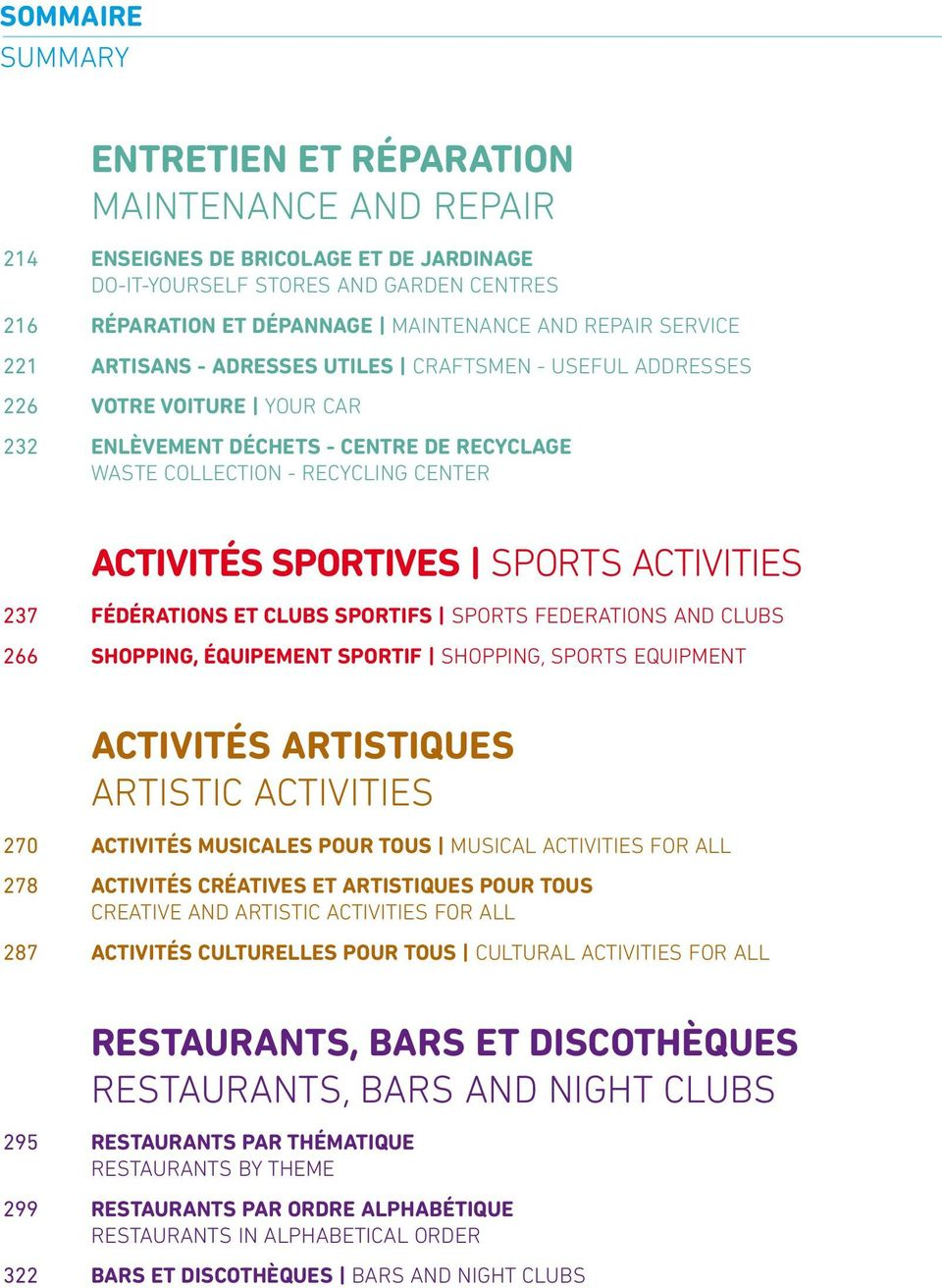 sports Activities 237 FéDéRATIONS ET CLUBS SPORTIFS SPORTS FEDERATIONS AND CLUBS 266 ShOPPING, équipement SPORTIF SHOPPINg, SPORTS EqUIPMENT Activités Artistiques Artistic Activities 270 ACTIVITéS