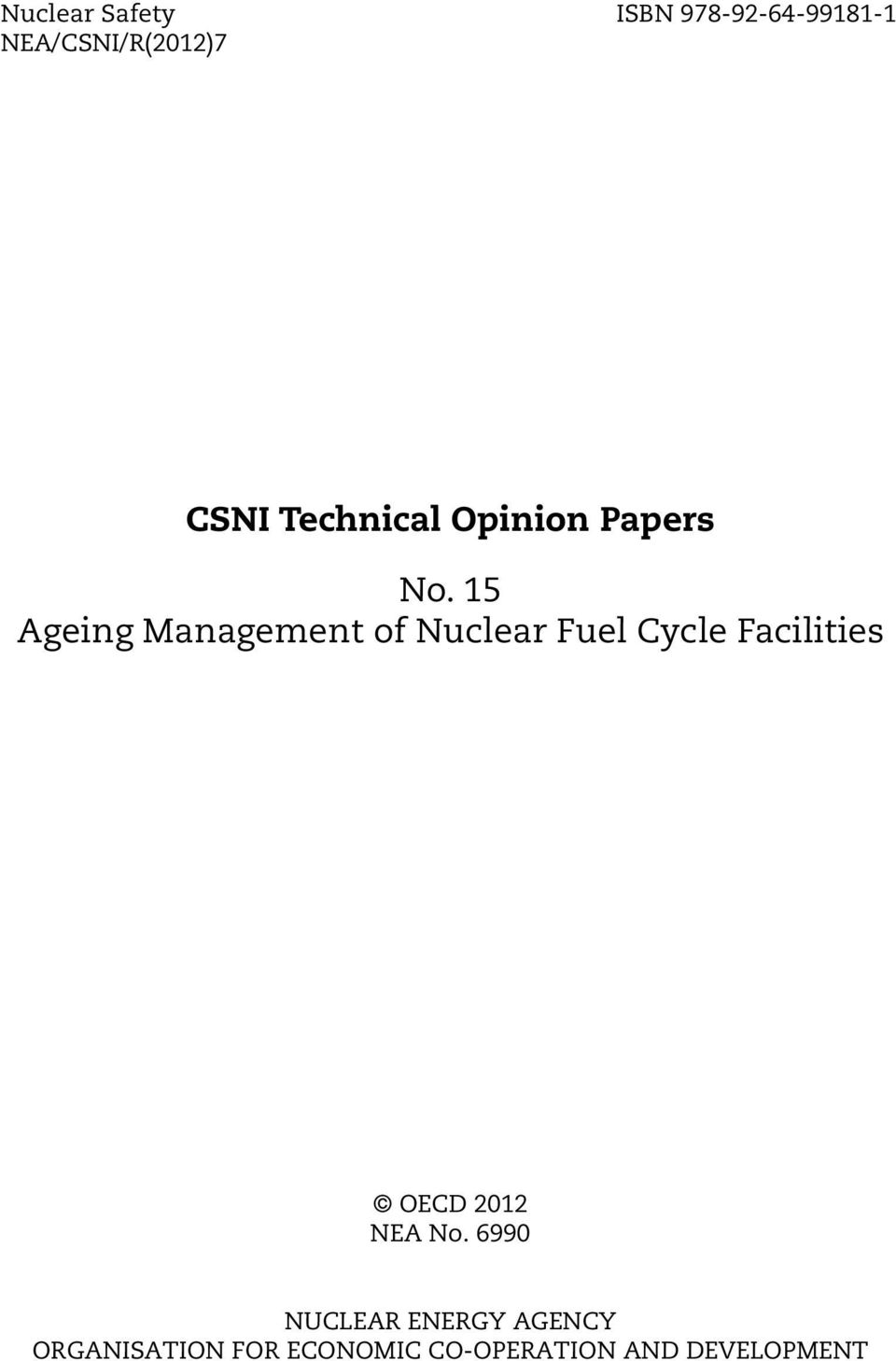 15 Ageing Management of Nuclear Fuel Cycle Facilities OECD