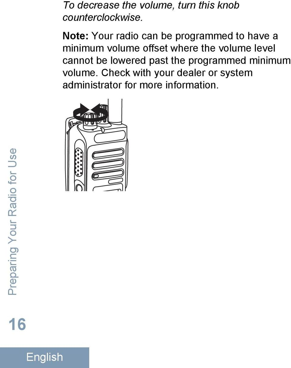 volume level cannot be lowered past the programmed minimum volume.