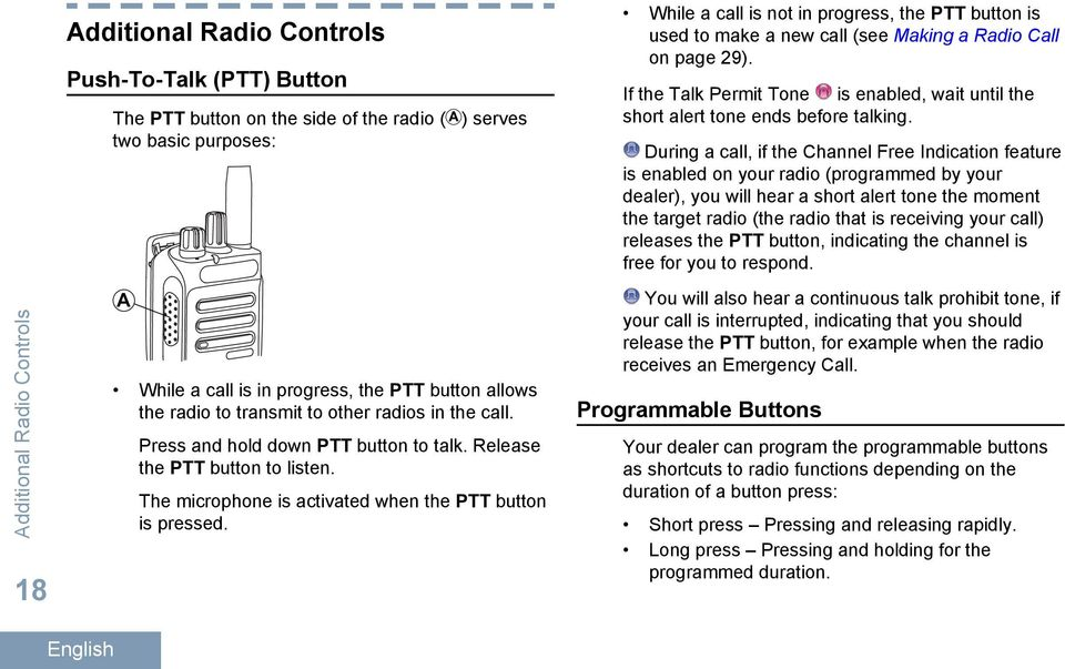 While a call is not in progress, the PTT button is used to make a new call (see Making a Radio Call on page 29).