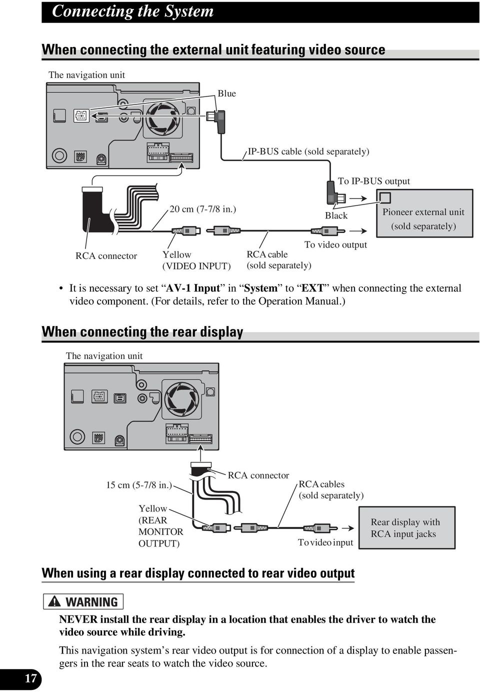 component. (For details, refer to the Operation Manual.) When connecting the rear display The navigation unit 10 RCA connector 15 cm (5-7/8 in.